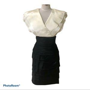 Tadashi Shoji vintage white black  midi dress 6